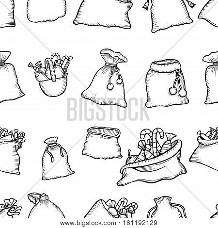 Seamless pattern Christmas decorations gifts bags with sweets. Print for the new year party. Monochrome Vector Wallpaper