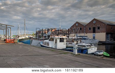 ships moored in the harbor. Exeter. England