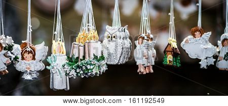Traditional Christmas Market With Handmade Souvenirs