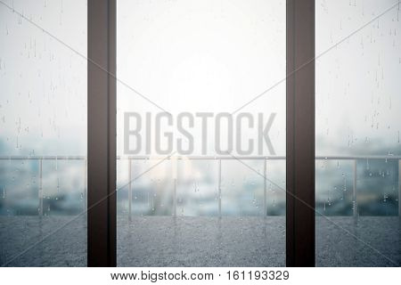 Close up of window with rain drops on blurry dull city and balcony with metal railing background. 3D Rendering
