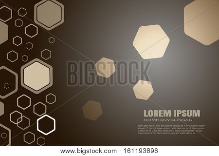 Vector abstract dark brown background with different size and opacity hexagon shapes.