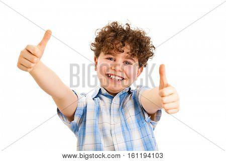 Boy showing OK sign isolated on white background