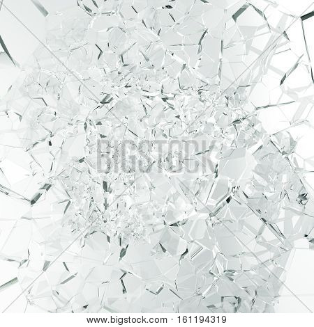 3d rendering broken glass background, abstract Illustration of broken glass into pieces isolated on white background.