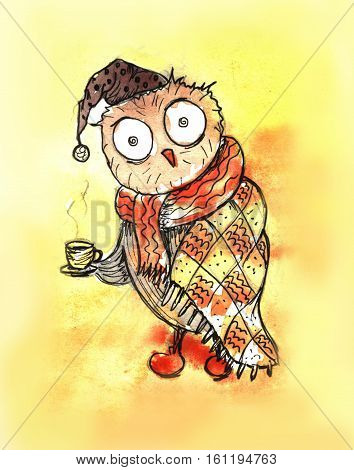Sleepy Owl with cup of tea. Morning. Poster design. Hand drawn and digital technique in illustration.