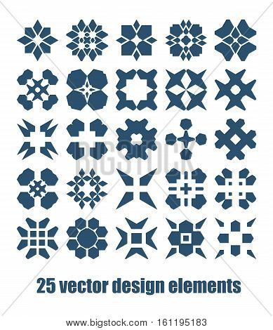 Design elements set. Abstract vector symbols collection. Graaphic geometric shape with star, square, cross and lines elements.