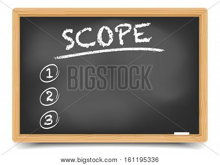 detailed illustration of a blackboard with Scope List, eps10 vector, gradient mesh included