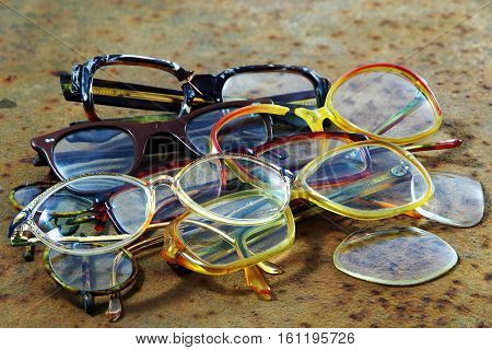Pile Of Old Glasses.