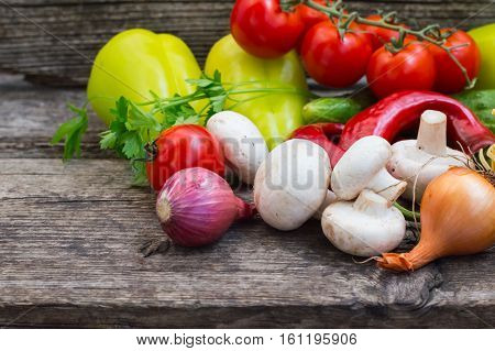 produce, vegetarian, paprika, Vegetable set on a wooden background. Close-up, produce, vegetarian, paprika