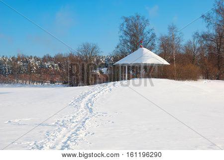 Lappeenranta. Finland. Winter landscape with pavilion on Halkosaari Island. Located in Lappeenranta Harbor on Saimaa Lake