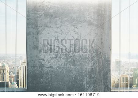 Front view of grungy concrete wall in interior with city view and daylight. Mock up 3D Rendering