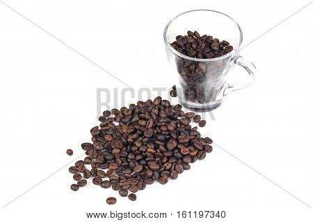 Cofee beans isolated on white background. Isolated objects