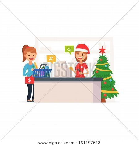 Cute supermarket store. Christmas supermarket. Xmas in store. Girl at the cash register supermarket. Cartoon style. Vector illustration