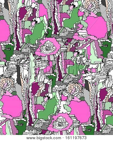 abstract pattern on fabric, bright abstract illustration summer