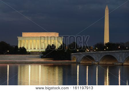 Washington DC - Lincoln Memorial, Washington Monument and Arlington Bridge at night