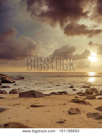 Beautiful hdr seascape at sunset time, vertical orientation