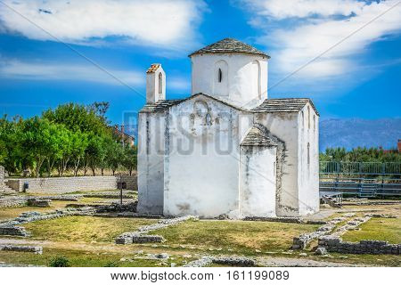 Scenic view at smallest cathedral in world, famous attraction in old roman town Nin, Croatia Europe travel places.