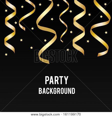 Party holiday vector background with golden streamers and black backdrop. Design template for invitation social media promotion. Birthday party christmas new year banner