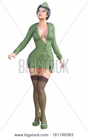 Girl in military khaki. Dark stockings with garters. Extravagant fashion art. Woman standing candid provocative sexy pose. Photorealistic 3D rendering isolate illustration. Studio photography.