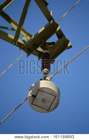Isolator of a high voltage line - close up