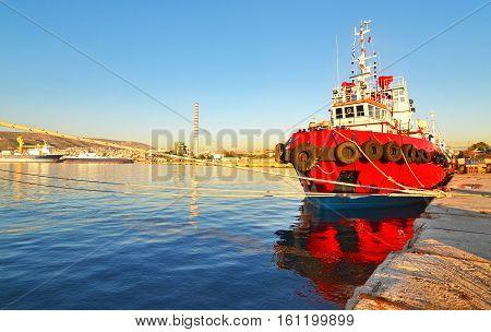 boats at the new mole of Drapetsona - greek industrial area near to the port of Piraeus