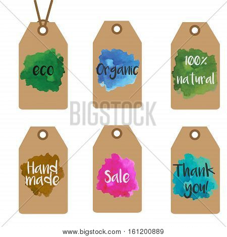 Gift tags design templates. Shopping and sale tags vector collection with watercolor splashes. Hand made style. For organic eco shops and stores.