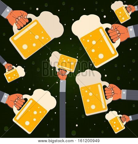 many hands with glasses of beer with foam