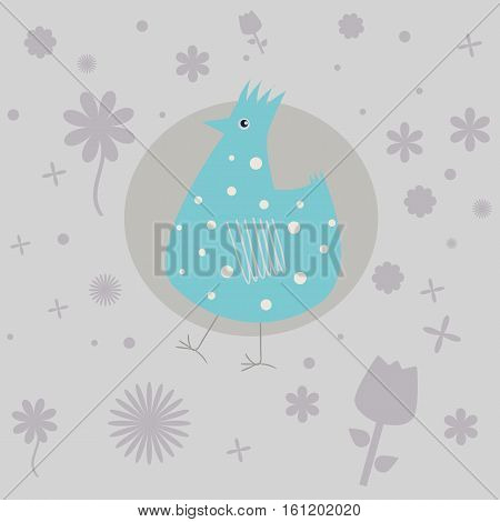 funny Blue Bird and the flowers in the circle