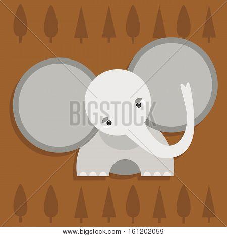 cute elephant with big ears and trees