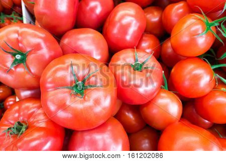 Close up of fresh juicy ripe tomatoes pile. lycopene and antioxidant in fruit nutrition good for health and skin. flat lay poster