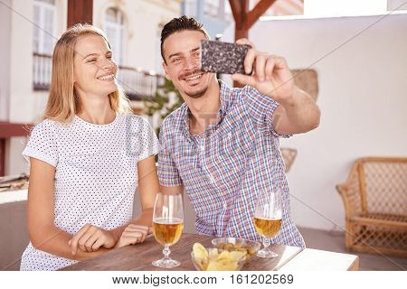Beautiful Couple Posing For A Selfie