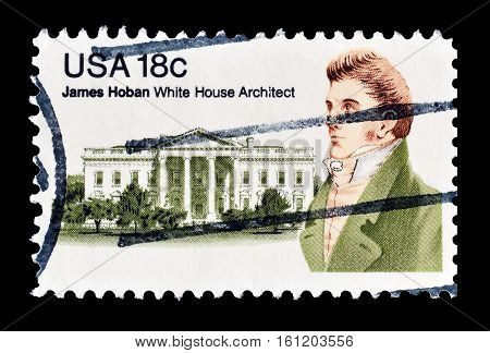 USA - CIRCA 1981 : Cancelled stamp printed by USA, that shows James Hoban.