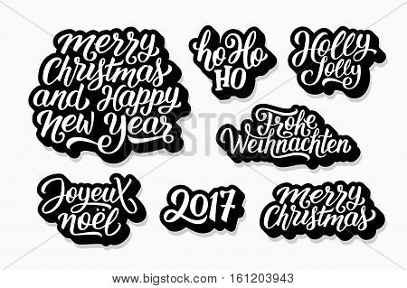 Merry Christmas and Happy New Year 2017 vector labels set with english, french and german greetings text. Holly jolly, Ho-ho-ho, Joyeux Noel and Frohe Weihnachten hand lettering on stickers