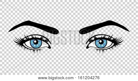 Vector blue female eyes with long lashes and make up. Beautiful girls eyes on transparent background