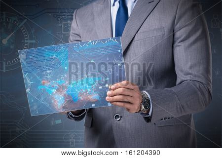 Data mining concept with businessman