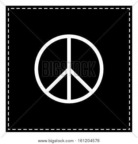 Peace Sign Illustration. Black Patch On White Background. Isolat
