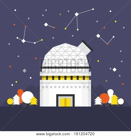 Space Dome Flat Icon. Material Design Illustration Concept. Modern Colorful Web Design Graphics. Premium Quality. Pixel Perfect. Bold Line Color Art. Unusual Artwork Isolated on White.