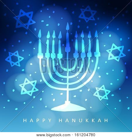 Hanukkah greeting card invitation with hand drawn menorah candelabra and jewish stars. Modern blurred vector illustration background for Jewish festival of light.