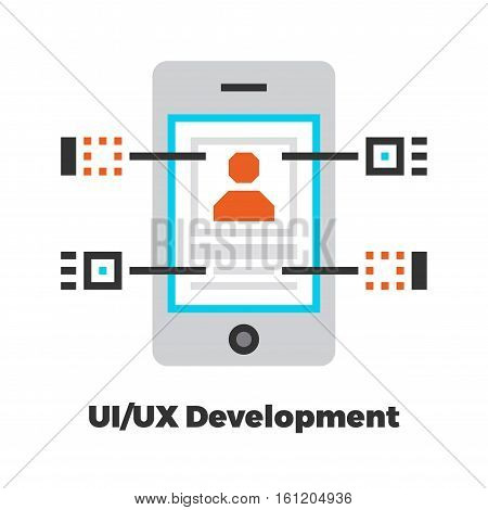 UI/UX Development Flat Icon. Material Design Illustration Concept. Modern Colorful Web Design Graphics. Premium Quality. Pixel Perfect. Bold LineColor Art. Unusual Artwork Isolated on White.