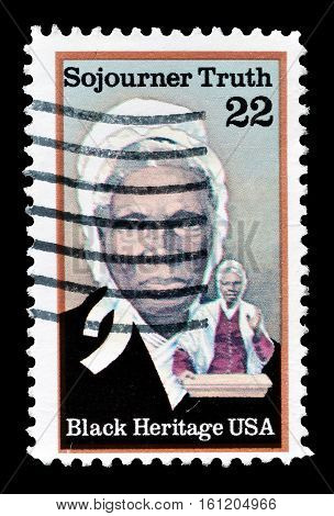 USA - CIRCA 1987 : Cancelled stamp printed by USA, that shows Sojourner Truth.