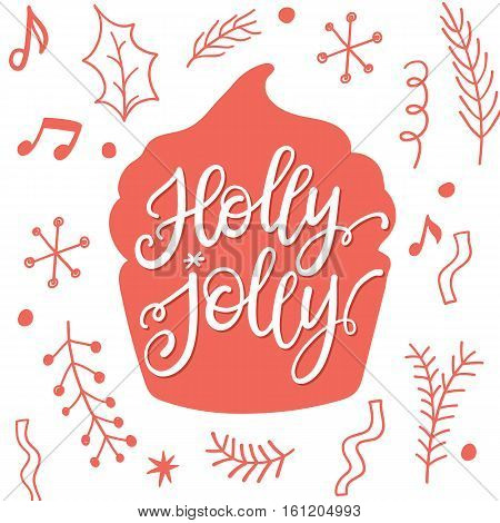 Holly jolly Christmas and New Year Holidays lettering greeting card