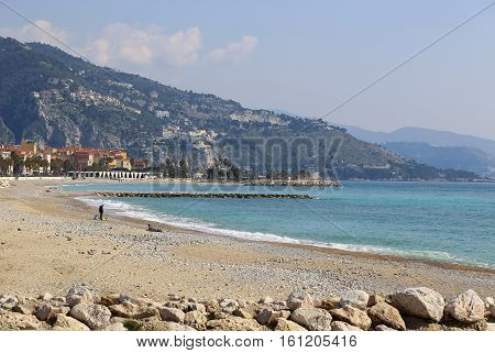 Beautiful sea view of Menton (border town with Italy near Monaco) on French Riviera Provence-Alpes-Cote d'Azur France