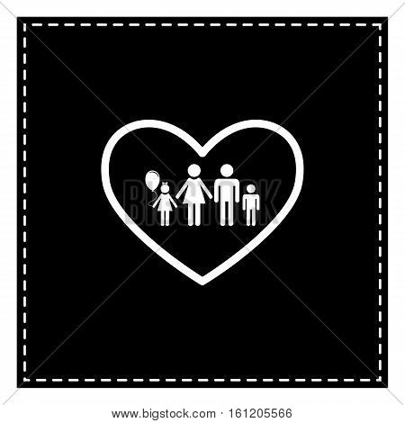 Family Sign Illustration In Heart Shape. Black Patch On White Ba