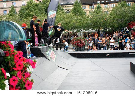 Stockholm aug 21. 2016 - Stockolm youth sport fest and some boys Skateboarding Jump Lifestyle Hipster