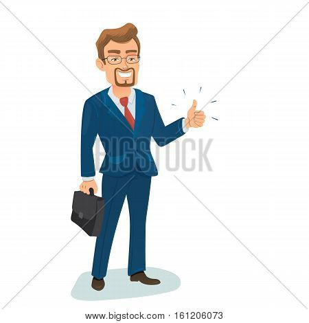 Vector illustration with isolated standing successfull young businessman