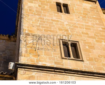 Sundial at the Salvador Church in Ubeda, Jaen province, Spain