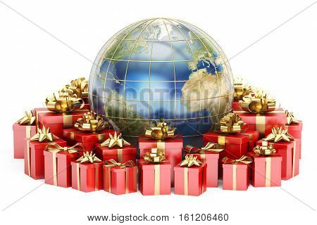 Global shopping and Gift delivery concept Earth with red gift boxes. 3D rendering isolated on white background