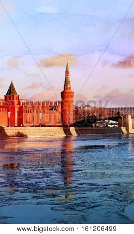 Beautiful winter river landscape with Moscow Kremlin towers