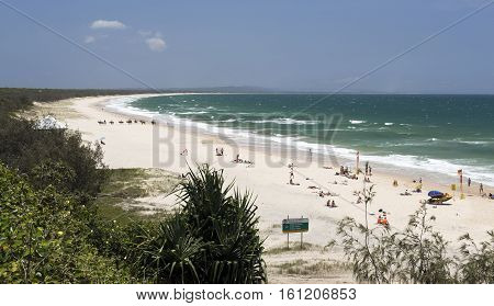 Spectacular view to the North of the Rainbow Beach looking towards the Fraser Island in Queensland Australia