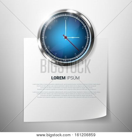 Photorealistic clock on wall with blank paper