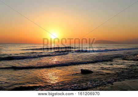 Photo wonderful beautiful sunset on the sea